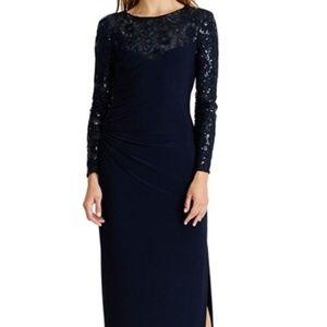 Ralph Lauren Sequin Mesh and Jersey Gown